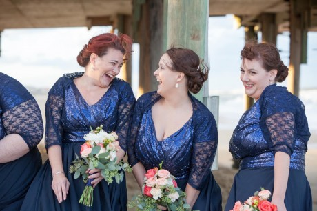 Bridesmaids in Blue lace shawls
