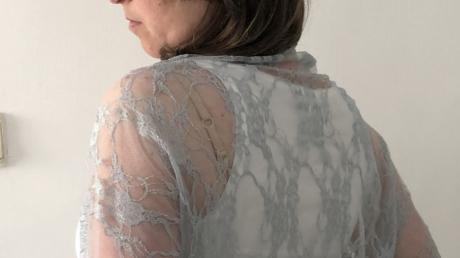 Gray bridal lace shawl