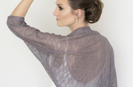 Gray bridal lace shawl