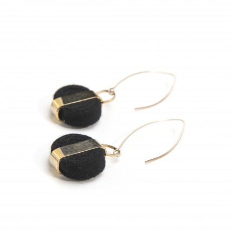 Black textile earrings