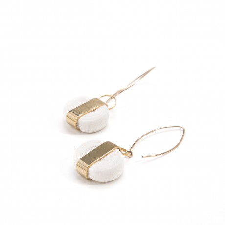 White textile earrings