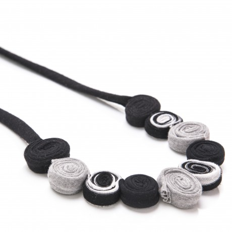 Black textile necklace