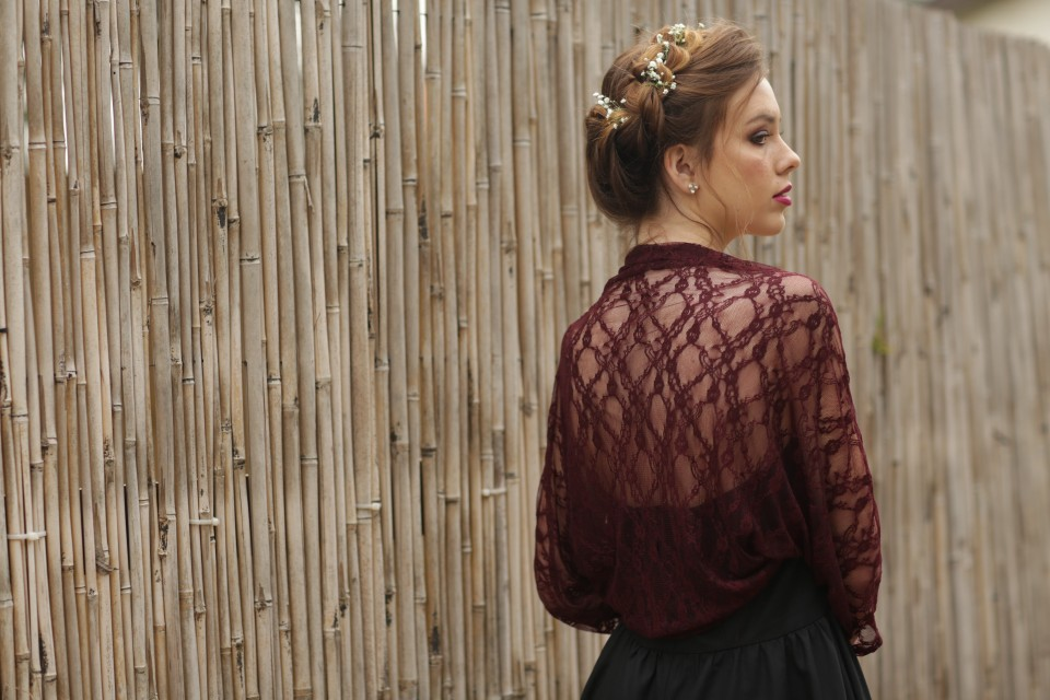 Burgundy lace shawl