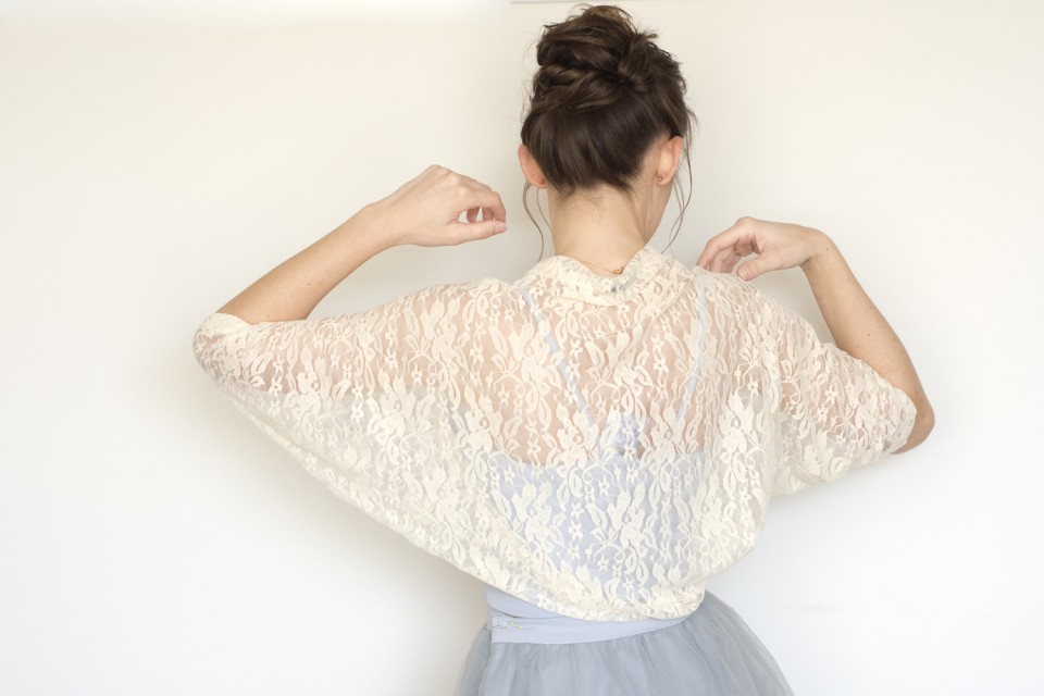 Cream bridal lace shawl