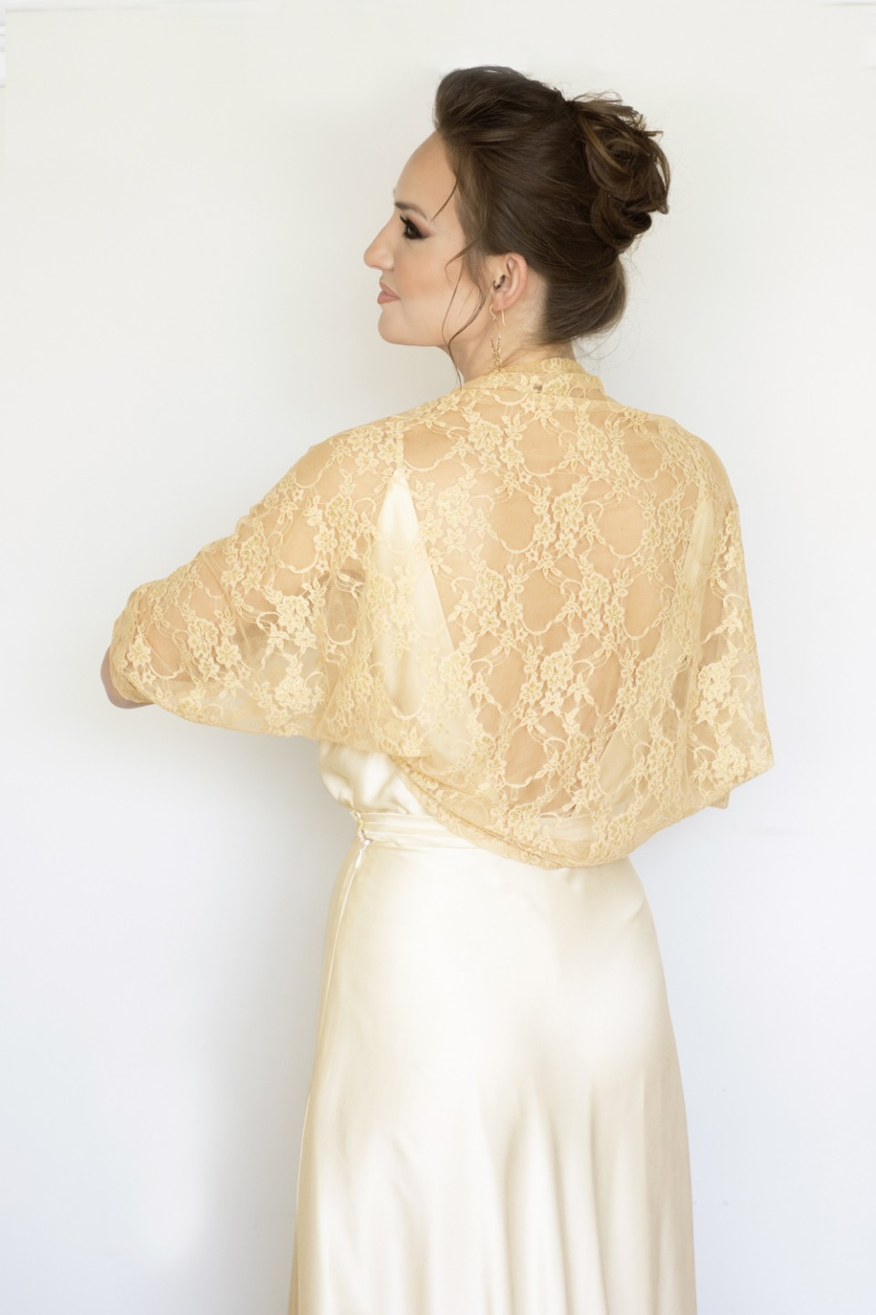 Gold lace shawl