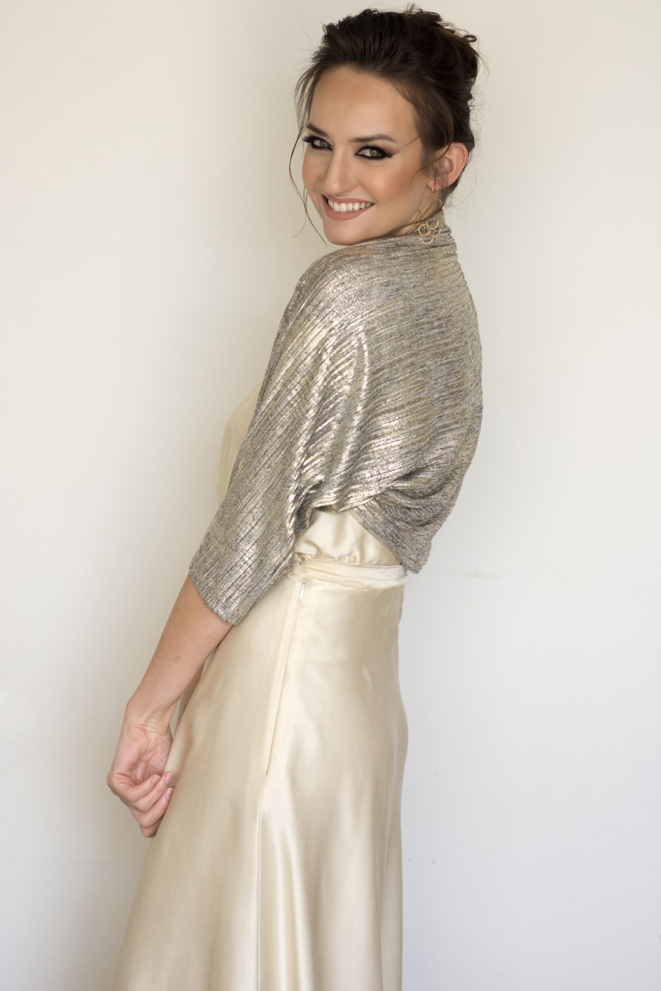 Pleated gold bolero jacket