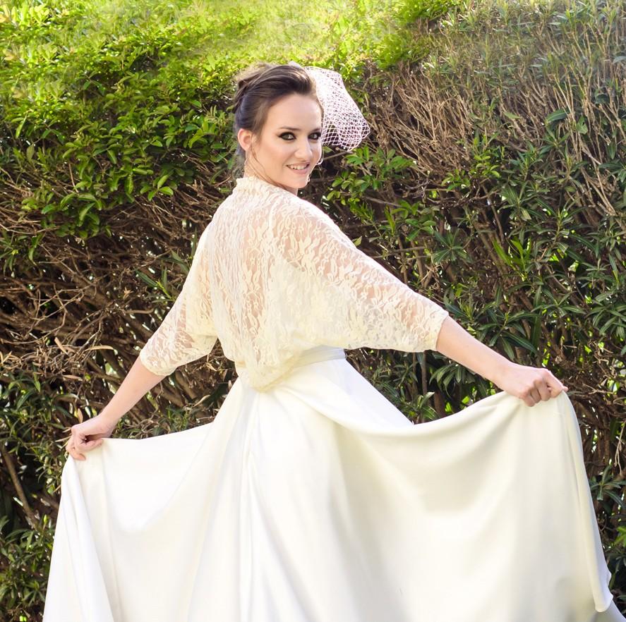 Peach lace shawl