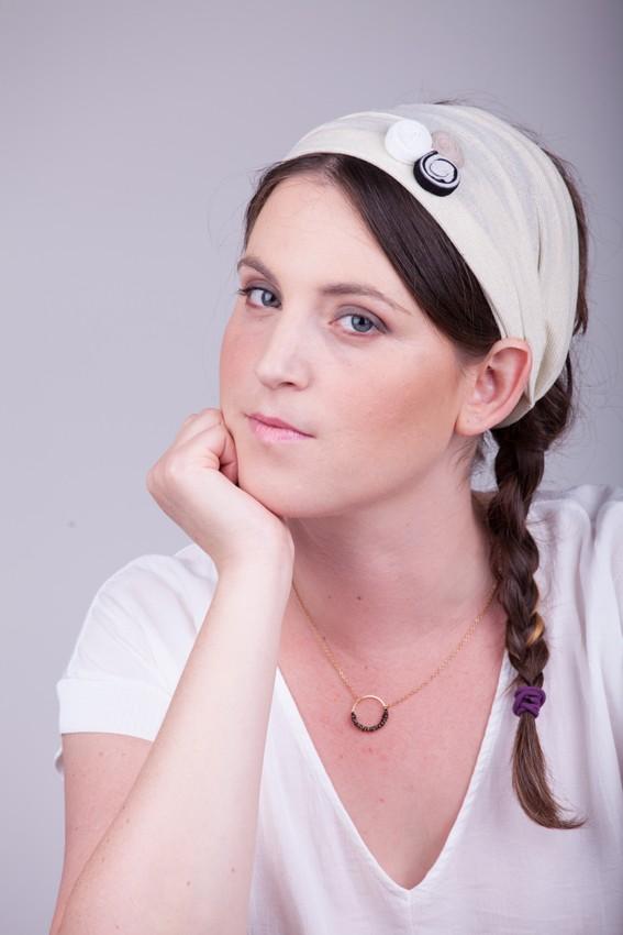 Cream wide headband