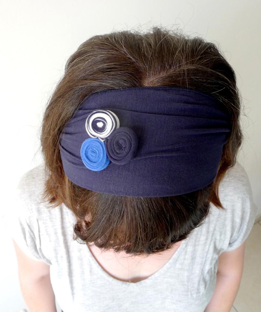 סרט לשיער- כחול נייבי עם עיגולי טריקו